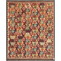 Handmade Herat Oriental Afghan Wool Mimana Kilim - 7'11 x 9'8 (Afghanistan)