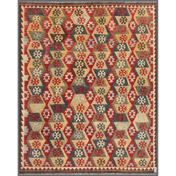 Herat Oriental Afghan Hand-knotted Wool Mimana Kilim  (7'11 x 9'8)