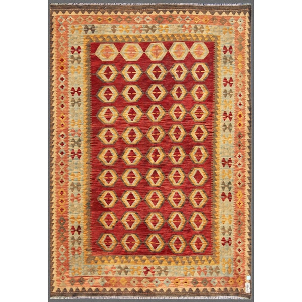 Afghan Hand-knotted Mimana Kilim Red/ Ivory Wool Rug (6'7 x 9'5)