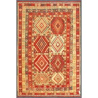 Herat Oriental Afghan Hand-knotted Wool Mimana Kilim  (7'5 x 10'10) - 7'5 x 10'10