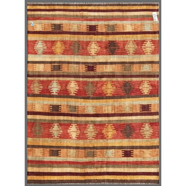 Afghan Hand-knotted Mimana Kilim Red/ Ivory Wool Rug (4'10 x 6'5)