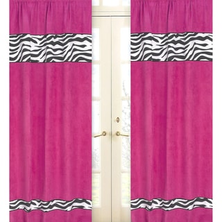 Sweet Jojo Designs Pink, Black and White 84-inch Window Treatment Curtain Panel Pair for Pink Funky Zebra Collection