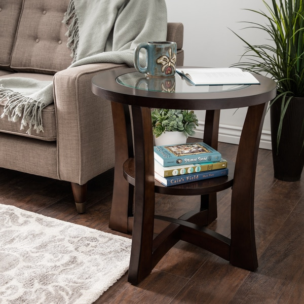 Copper Grove Eclipse Espresso Glass Top End Table