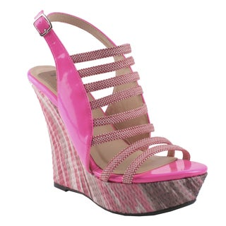 Fahrenheit by Beston Women's 'Ivanka-12' Pink Platform Sandals