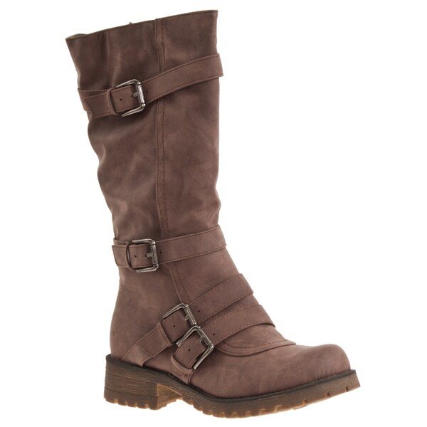 Riverberry Women's 'Combat' Taupe Mid-calf Boots