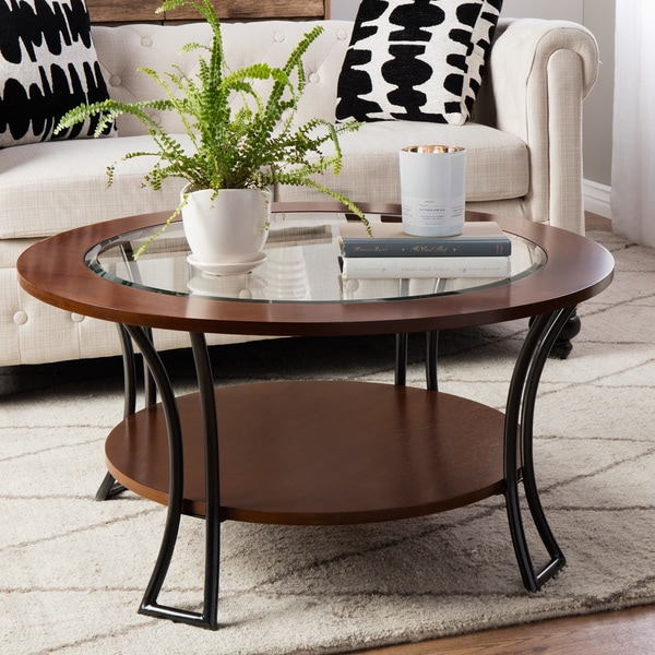 Merveilleux Carbon Loft Carlisle Walnut/ Charcoal Grey Round Coffee Table