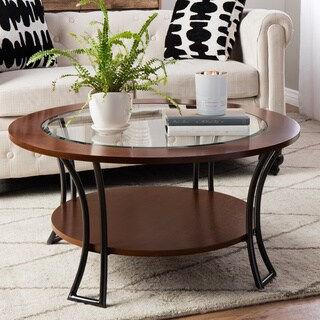 Carbon Loft Carlisle Walnut/ Charcoal Grey Round Coffee Table