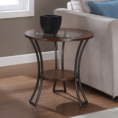 Copper Grove Carlisle Walnut/ Charcoal Grey Round End Table