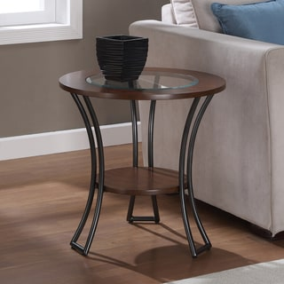 Carbon Loft Carlisle Walnut/ Charcoal Grey Round End Table