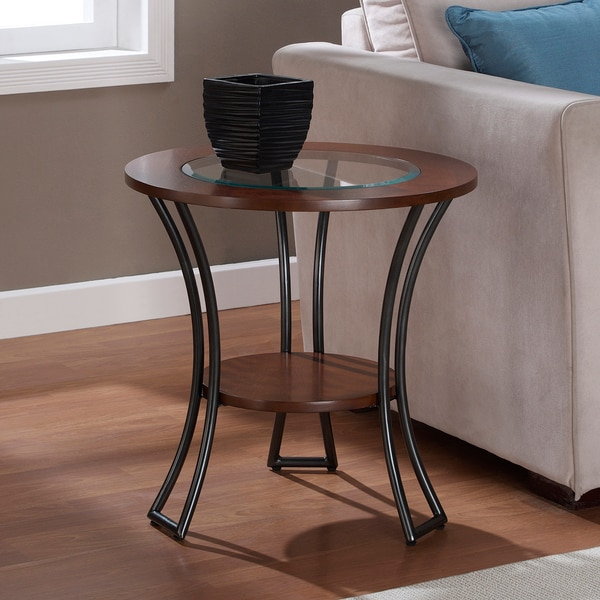 Incroyable Carbon Loft Carlisle Walnut/ Charcoal Grey Round End Table