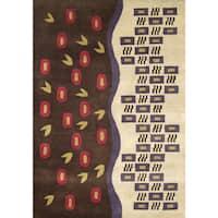 Alliyah Handmade Tufted Beige/ Brown/ Purple/ Red/ Light Green New Zealand Blend Wool Rug - 5' x 8'