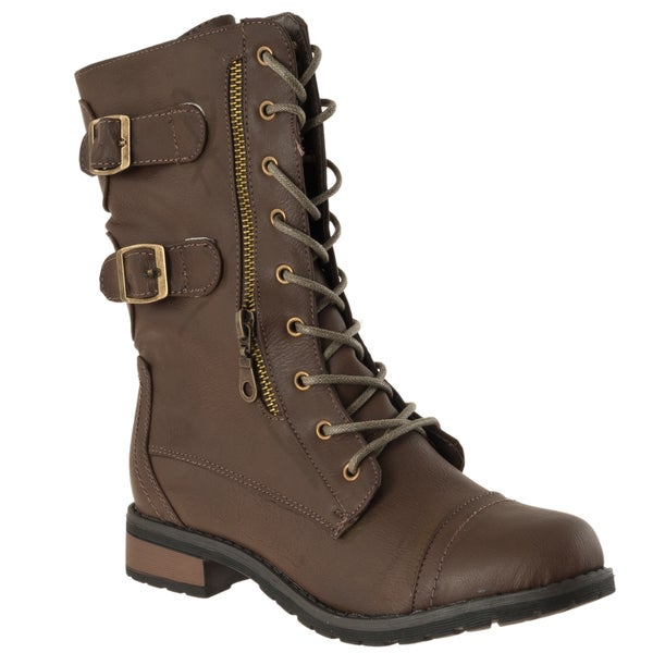 Riverberry Women's 'Battle-02' Taupe Combat Boots