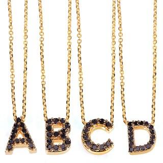 Annello by Kobelli Yellow Gold Black Diamond Accent Mini Initial Letter Necklace