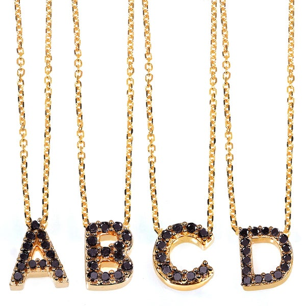 Annello by Kobelli Yellow Gold Black Diamond Accent Mini Initial Letter Necklace