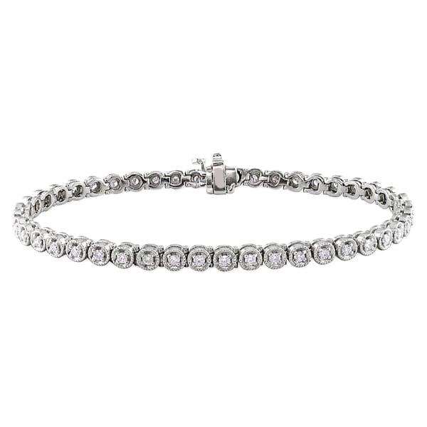 Miadora Signature CollectionMiadora 14k White Gold 1 1/6ct TDW Diamond Bracelet