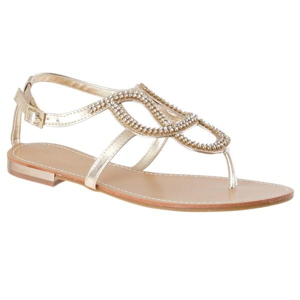 Riverberry Women's 'Bloom-88' Gold Rhinestone Sandals