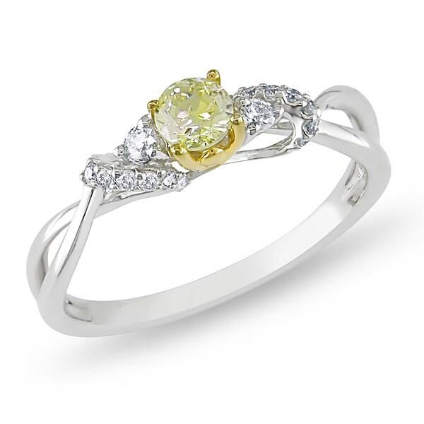 Miadora 14k Gold 2/5ct TDW Yellow and White Diamond Ring (G-H, I1-I2)