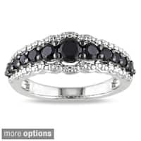 Miadora Sterling Silver Created White Sapphire or Black Spinel Ring