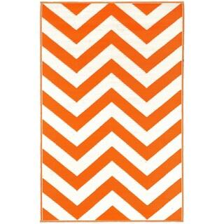 Prater Mills Orange and White Indoor/Outdoor Rug