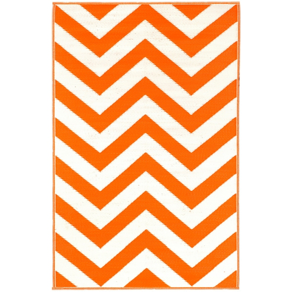 Prater Mills Orange and White Indoor/Outdoor Rug