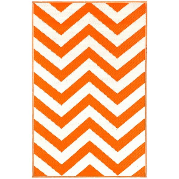 Prater Mills Orange and White Indoor/ Outdoor Rug