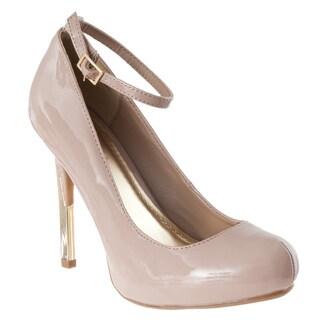 Riverberry Women's 'Delia-03' Nude Patent Ankle Strap Pumps