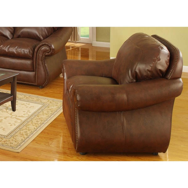 Stanley Tobacco Brown Bonded Leather Chair