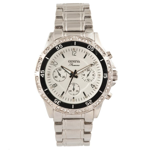 Geneva Premiere Men's Crystal-accented Bling Watch