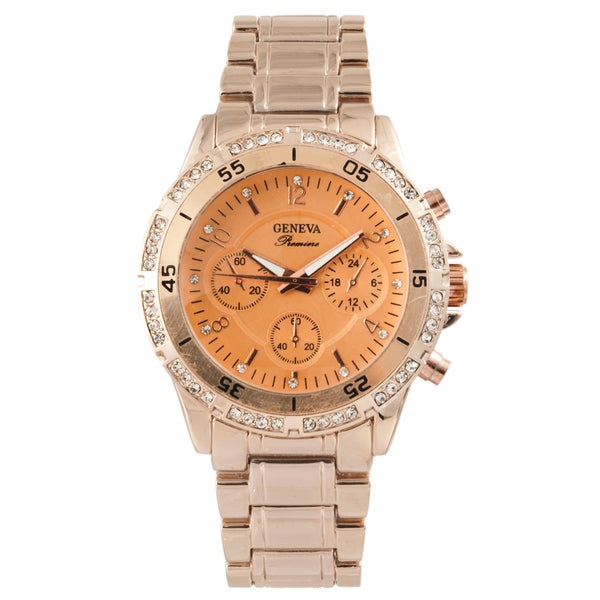 Geneva Premiere Men's Orange Dial Crystal-accented Bling Watch