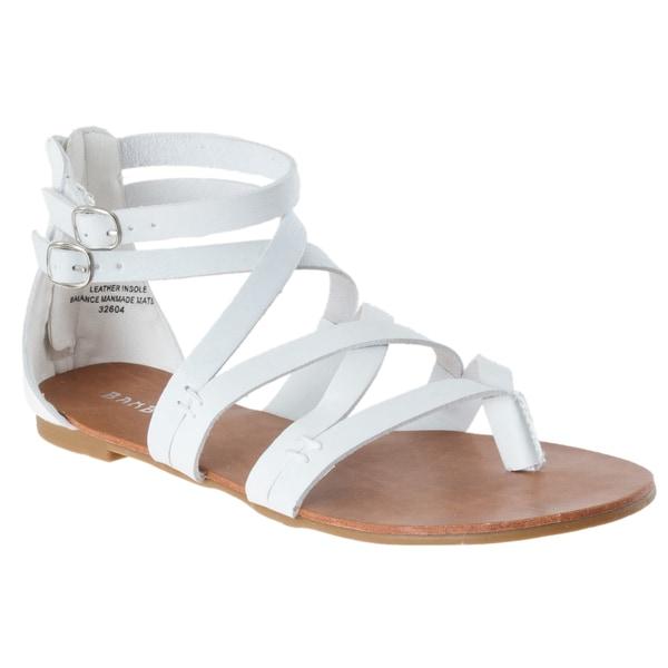 Riverberry Women's 'Laguna' White Lizard-print Gladiator Sandals