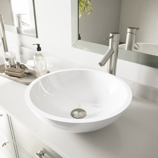 VIGO Flat Edged White Phoenix Stone Vessel Bathroom Sink