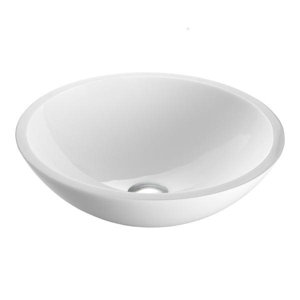 VIGO Flat Edged White Phoenix Stone Vessel Bathroom Sink