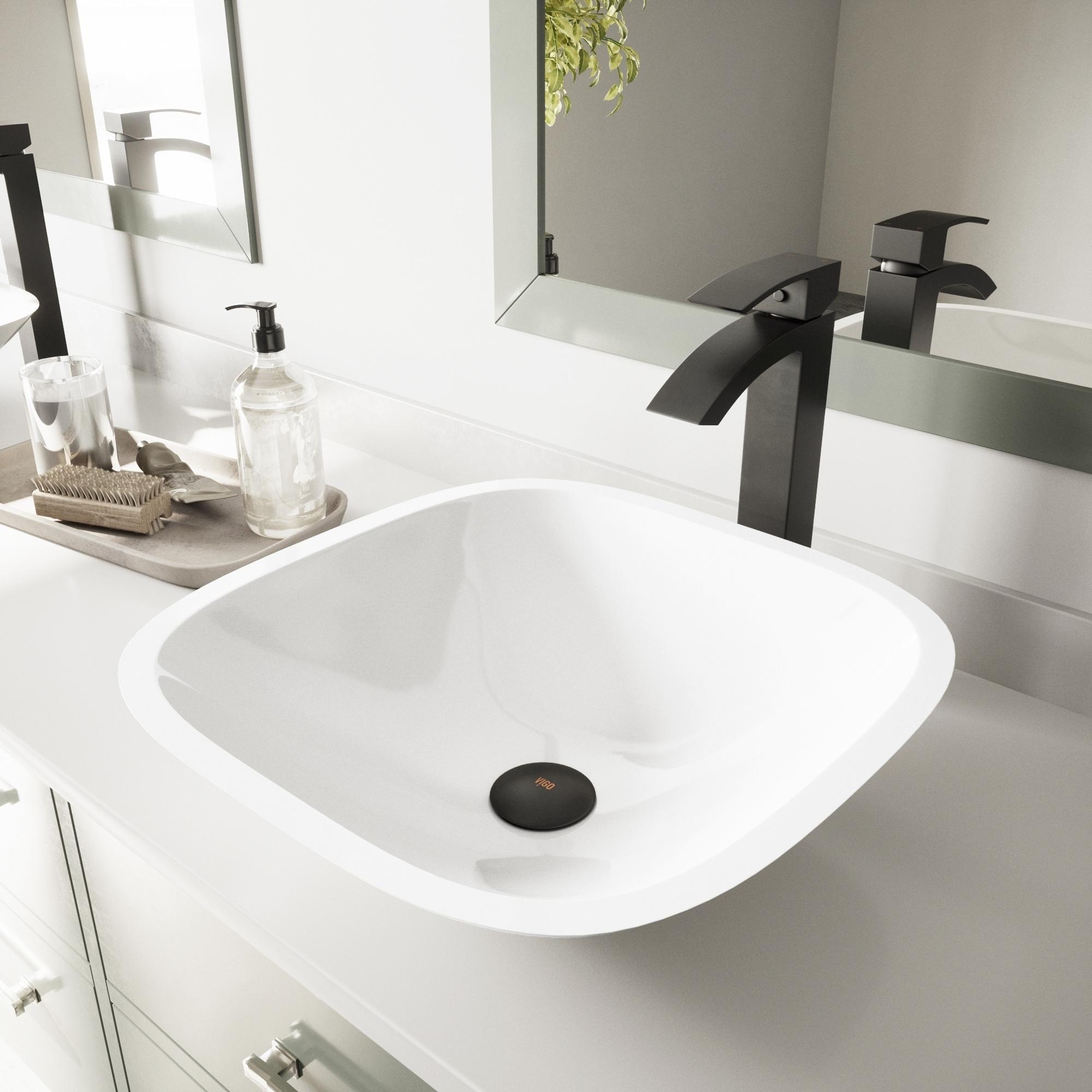Vigo Square Shaped White Phoenix Stone Vessel Bathroom Si...