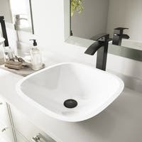 VIGO Marie White Phoenix Stone Vessel Bathroom Sink
