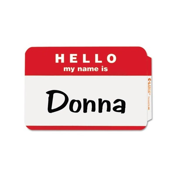 C-Line Pressure Sensitive 'Hello My Name Is' Red Badges (Case of 100)
