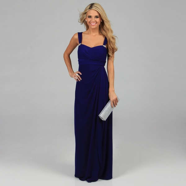 Betsy & Adam Women's Royal Blue Sleeveless Long Cascading Dress