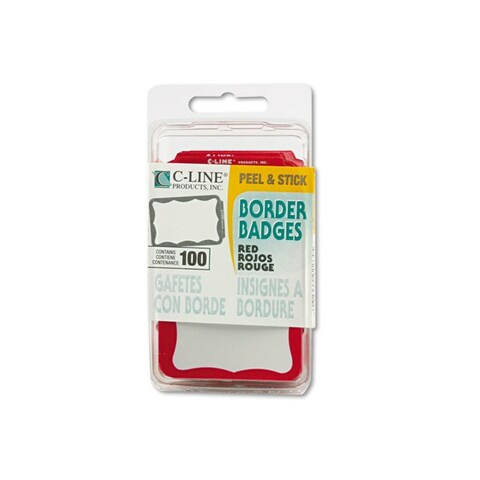 C-Line Red Self-adhesive Name Badges (Case of 100)