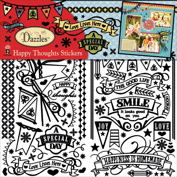 "Dazzles Stickers 6""X12"" 2 Sheets-Happy Thoughts"