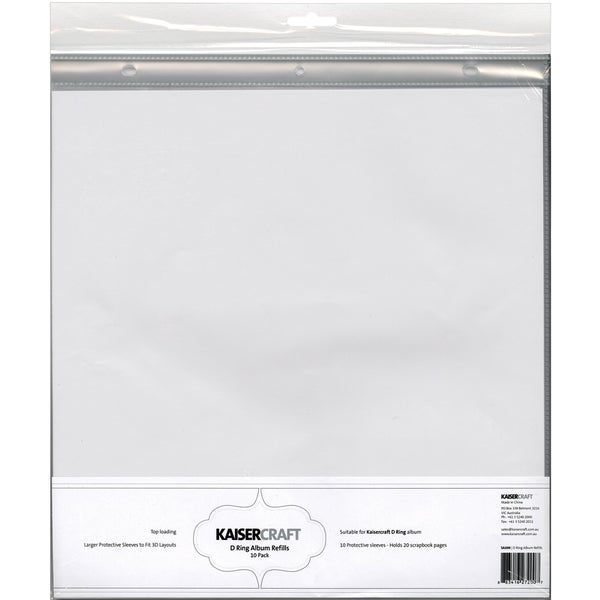 D Ring Album Page Protectors 12x12 10pkg Top Loading With White
