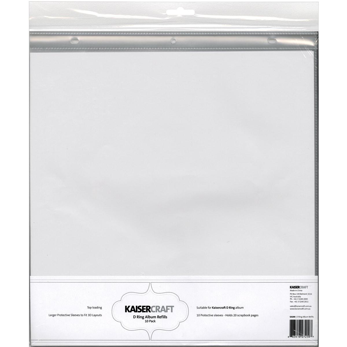 """Kaisercraft D-Ring Album Page Protectors 12""""X12"""" 10/Pkg-T..."""