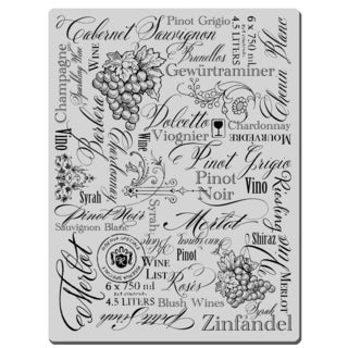 Stampendous Cling Rubber Stamp-Wine Labels