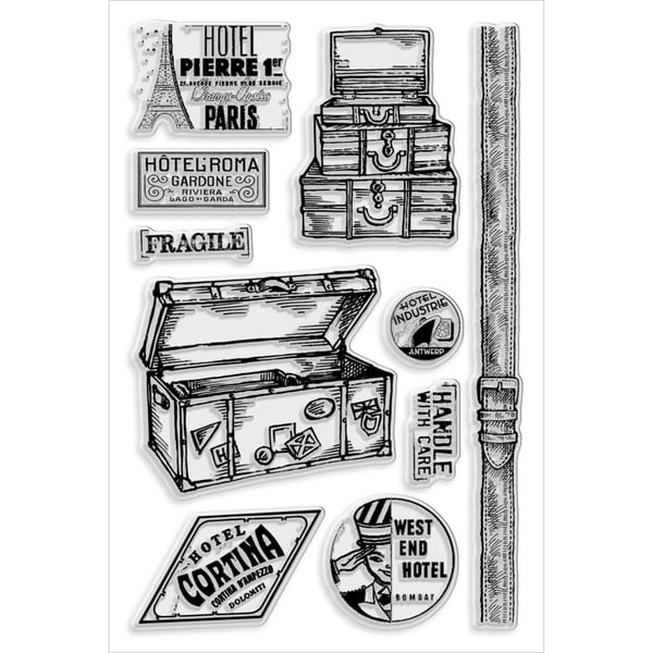 """Stampendous Perfectly Clear Stamps 4""""X6"""" Sheet-Baggage Claim"""