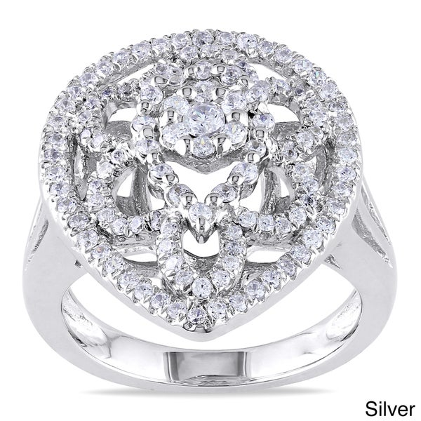 Miadora Rose or White Goldplated Silver Cubic Zirconia Cocktail Ring