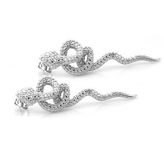 De Buman Sterling Silver Diamond Accent Snake Earrings