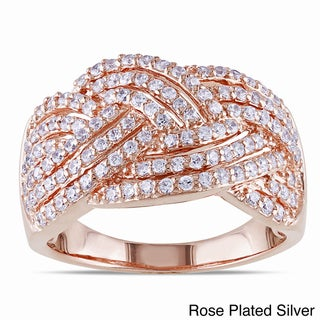 Miadora Rose or White Goldplated Silver Cubic Zirconia Ring