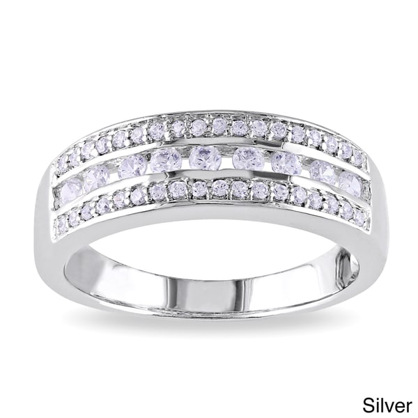 Miadora Rose or White Gold-plated Silver Cubic Zirconia Band-style Ring