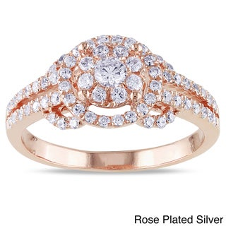 Miadora Rose or White Goldplated Silver Round-cut Cubic Zirconia Ring