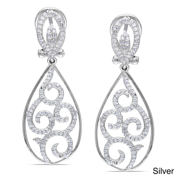 Miadora Rose or White Goldplated Silver Cubic Zirconia Dangle Earrings