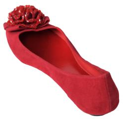 Journee Collection Women's 'Crush-01' Flower Beaded Front Ballet Flats - Thumbnail 1