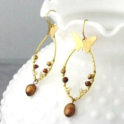 Brass Butterfly and Bronze Pearl Drop Earrings (4-10 mm) (Thailand)